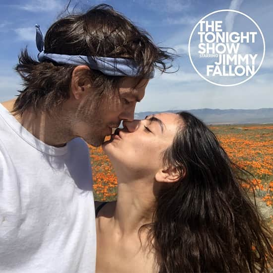 Ashton Kutcher And Mila Kunis Kissing, Before Appearing The Tonight Show Starring Jimmy Fallon