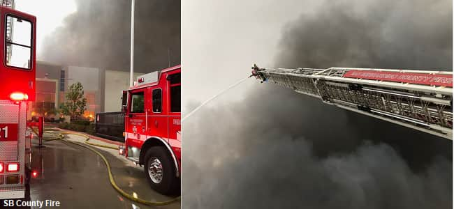 Huge Fire At Amazon Warehouse And Commercial Building In Redlands