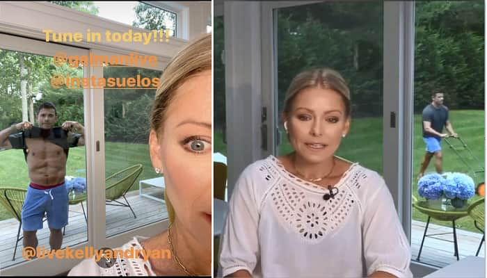 Mark Consuelos Flashes Kelly Ripa As She's On The Phone With Her Producer Michael Gelman